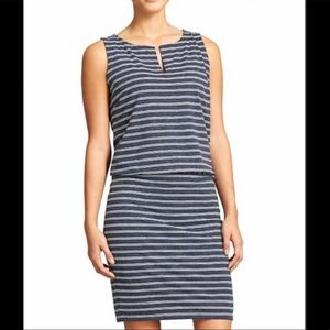 Athleta navy striped linen blend Vida dress, M